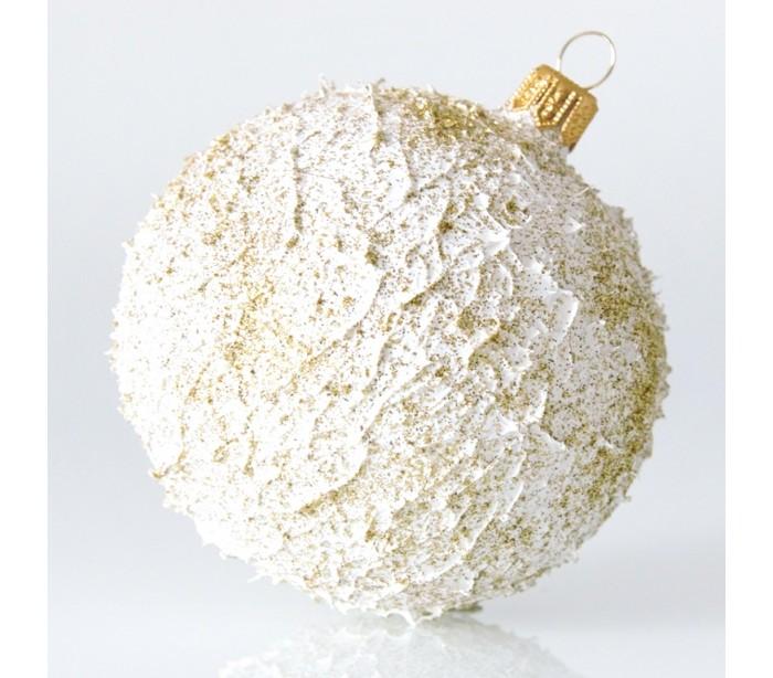 Julekugle i mundblæst glas Ø8 cm - Guld