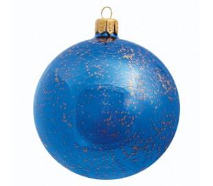 Julekugle i mundblæst glas Ø8 cm - Blå
