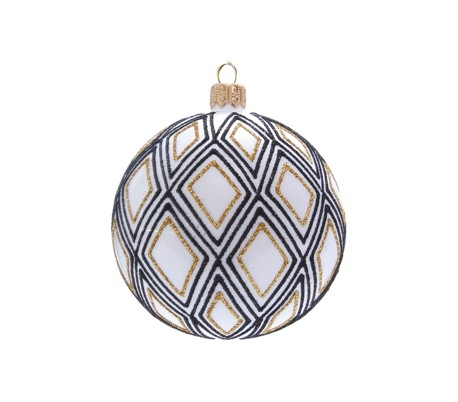 Julekugle i mundblæst glas Ø8 cm - Hvid/Sort