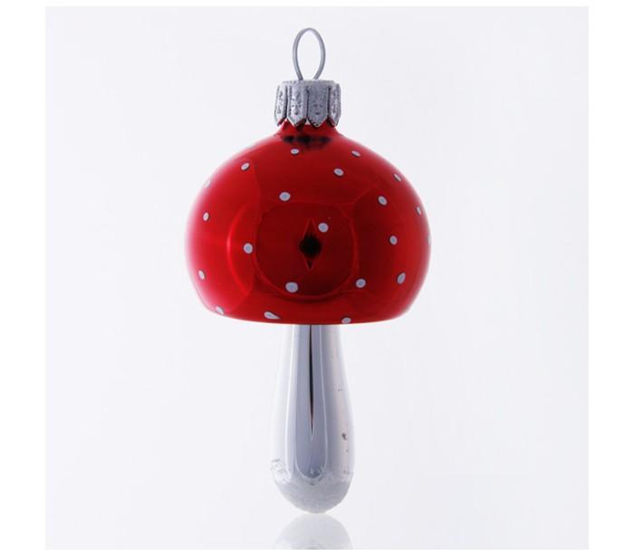 Juleophæng i glas H9 cm - Rød/Hvid