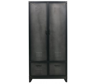 Industrielt dobbeltskab i metal H190 x B90 x D50 cm - Rå sort
