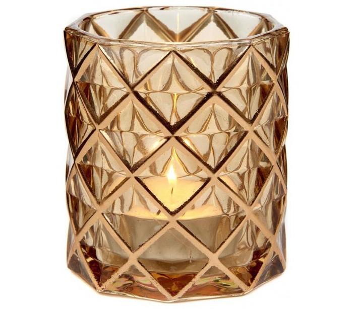 Fyrfadsstage i glas H9 cm - Guld