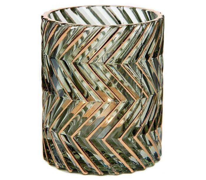Fyrfadsstage i glas H9 cm - Guld/Grøn