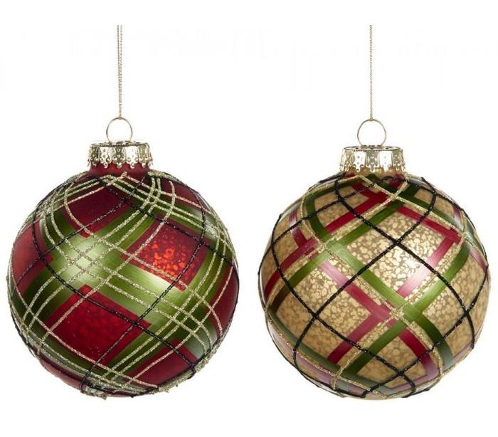 Tartan julekugle i glas Ø10 cm assorteret