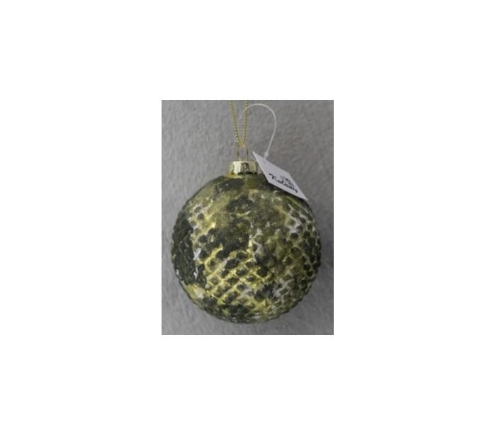 Julekugle i glas Ø8 cm - Antik mug grøn