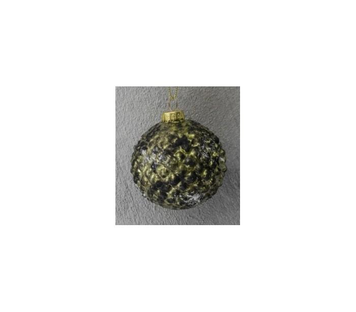 Julekugle i glas Ø7 cm - Antik mug grøn