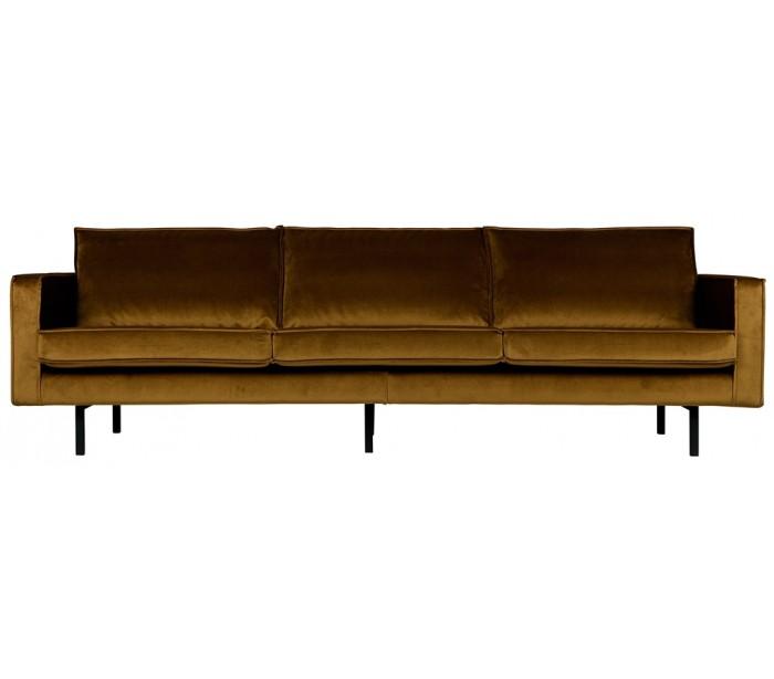 3-personers sofa i velour b277 cm - honning fra selected by lepong på lepong.dk