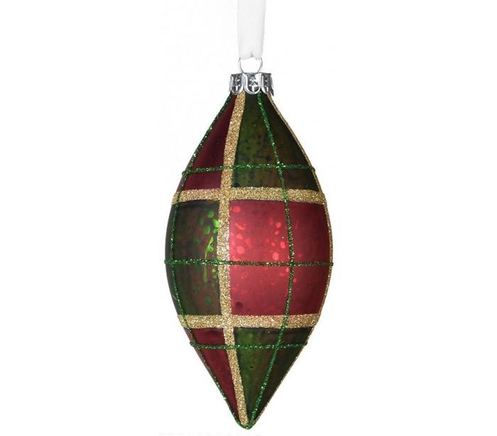 Juleophæng i glas H12 cm - Tartan