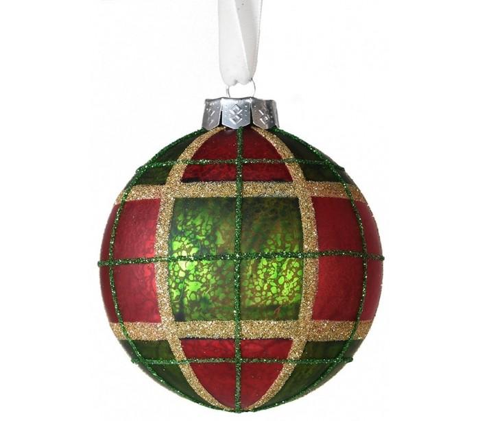 Julekugle i glas Ø8 cm - Tartan