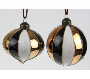 Julekugle i glas Ø8 cm assorteret - Sort/Hvid/Guld