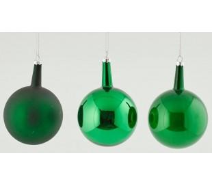 Julekugle i glas H12 x Ø8 cm assorteret - Grøn