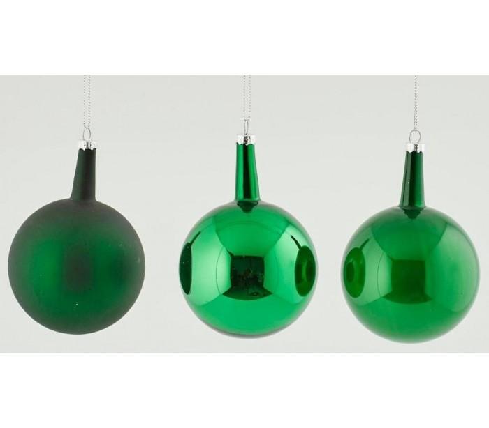 Image of   Julekugle i glas H12 x Ø8 cm assorteret - Grøn
