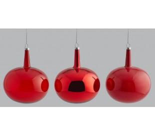 Julekugle i glas H10 x Ø8 cm assorteret - Rød
