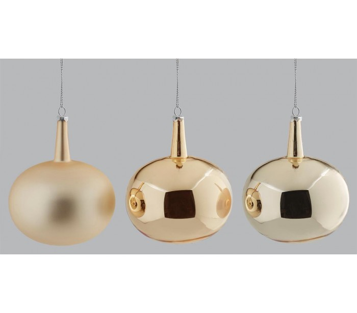 Julekugle i glas H12 x Ø10 cm assorteret - Guld