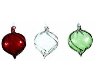 Julekugle i glas Ø6 cm assorteret - Rød/Grøn/Klar