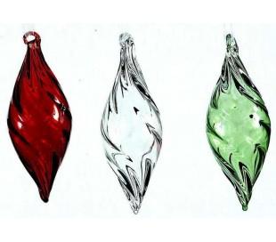 Juleophæng i glas H10 cm assorteret - Rød/Grøn/Klar