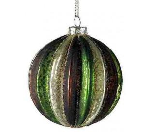 Julekugle i glas Ø8 cm - Brun/Grøn