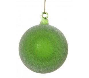 Julekugle Ø8 cm i glas - Frostet grøn