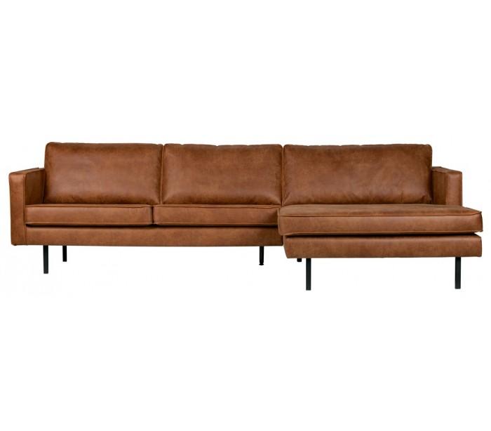 Sofa med højrevendt chaiselong i læder B300 cm – Vintage cognac fra Selected by Lepong