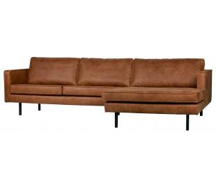 Sofa med højrevendt chaiselong i læder B300 cm - Vintage cognac