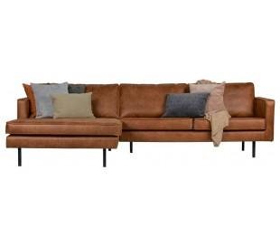 Sofa med venstrevendt chaiselong i læder B300 cm - Vintage cognac