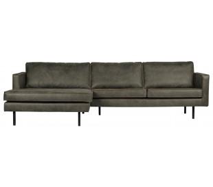 Sofa med venstrevendt chaiselong i læder B300 cm - Vintage armygrøn