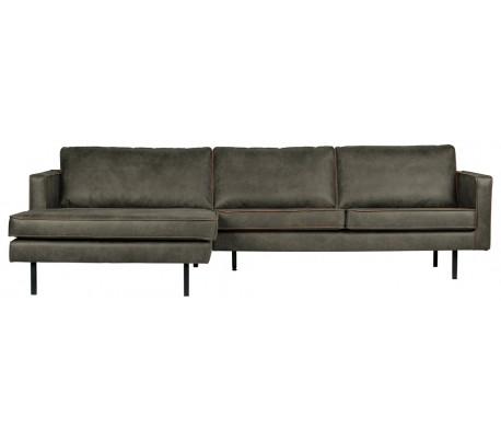 Moderne Sofa med venstrevendt chaiselong i læder B300 cm - Vintage armygrøn AX55