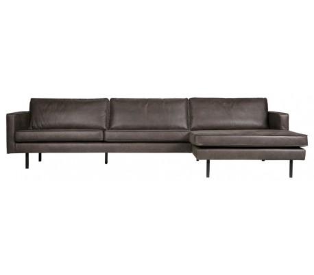 Lige ud Sofa med højrevendt chaiselong i læder B300 cm - Vintage sort DB18