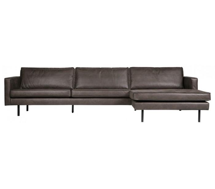 selected by lepong – Sofa med højrevendt chaiselong i læder b300 cm - vintage sort fra lepong.dk