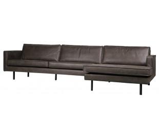 Sofa med højrevendt chaiselong i læder B300 cm - Vintage sort