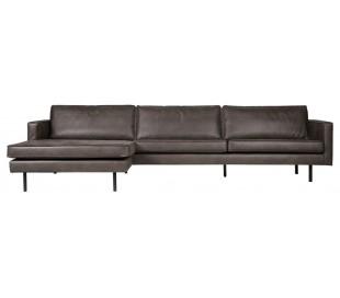 Sofa med venstrevendt chaiselong i læder B300 cm - Vintage sort