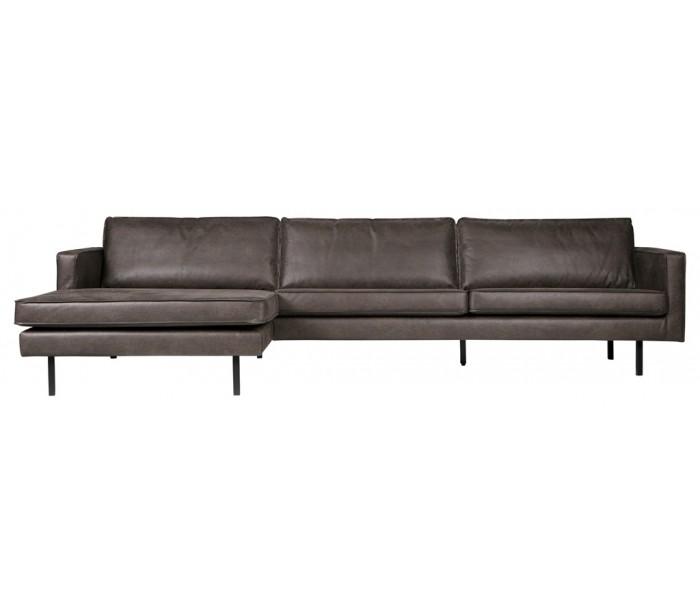 selected by lepong Sofa med venstrevendt chaiselong i læder b300 cm - vintage sort på lepong.dk