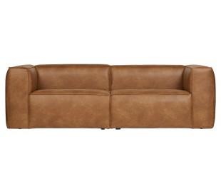 Moderne 3,5 personers sofa i læder 246 x 96 cm - Cognac