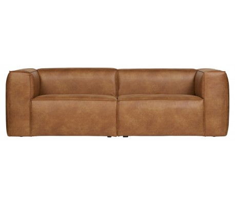 Moderne 3,5 personers sofa i læder 246 x 96 cm – Vintage cognac