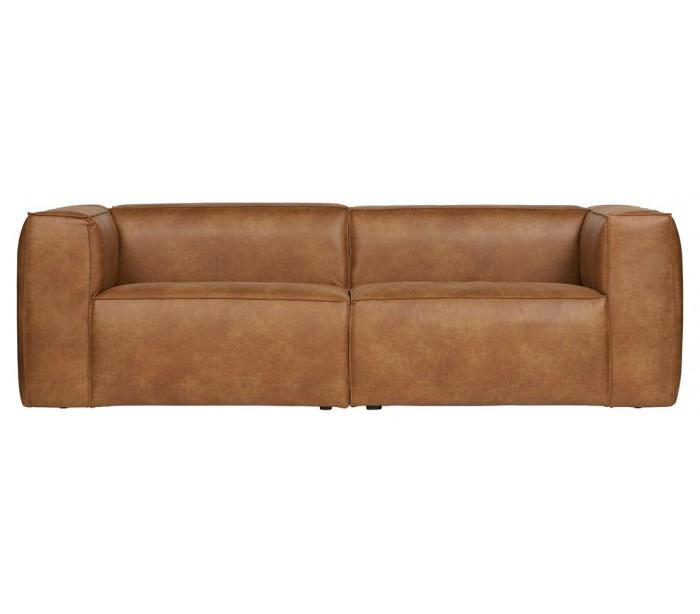 Moderne 3,5 personers sofa i læder 246 x 96 cm - cognac fra selected by lepong fra lepong.dk