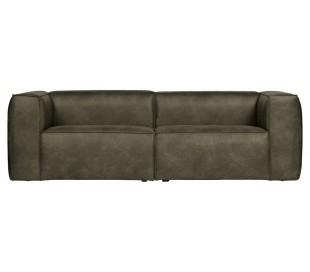 Moderne 3,5 personers sofa i læder 246 x 96 cm - Armygrøn