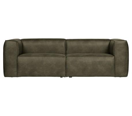Moderne 3,5 personers sofa i læder 246 x 96 cm – Vintage armygrøn
