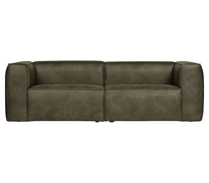 selected by lepong – Moderne 3,5 personers sofa i læder 246 x 96 cm - armygrøn på lepong.dk
