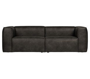 Moderne 3,5 personers sofa i læder 246 x 96 cm - Sort