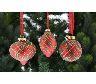 Julekugle i glas Ø6-9 cm assorteret - Tartan