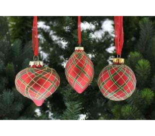 Julekugle i glas Ø8-10 cm assorteret - Tartan