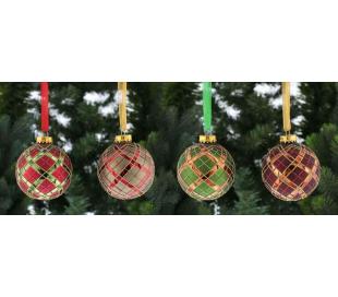 Julekugle i glas Ø8 cm assorteret - Tartan
