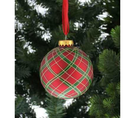 Julekugle i glas Ø10 cm - Tartan
