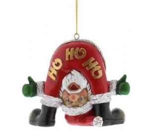 Bent Over Santa juleophæng i polyresin H10 cm - Rød