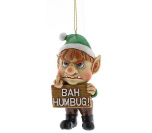 Bah Humbug Nisse juleophæng i polyresin H10 cm - Grøn