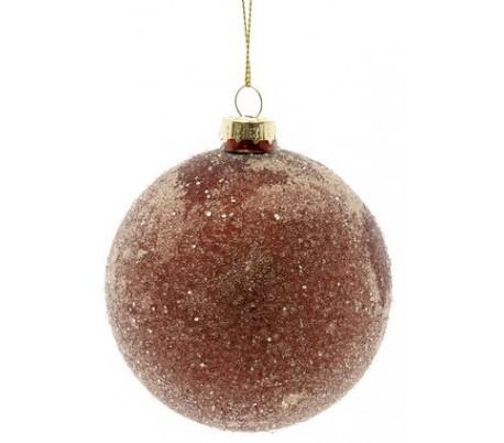 Julekugle i glas Ø8 cm - Frostet rust
