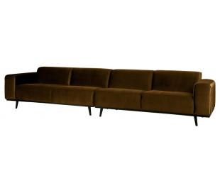4-personers sofa i velour 372 cm - Honninggul
