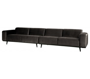 4-personers sofa i velour 372 cm - Taupe
