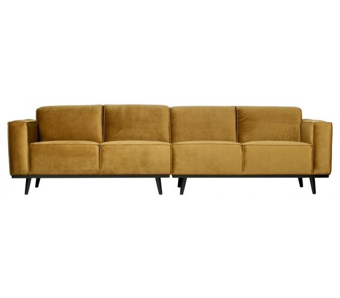 selected by lepong – 4-personers sofa i velour 280 cm - honninggul fra lepong.dk