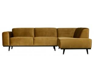 Hjørnesofa i velour 274 x 210 cm - Honninggul